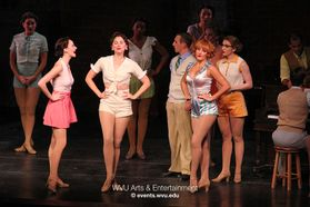 The cast of 42nd Street performing at the WVU Creative Arts Center.
