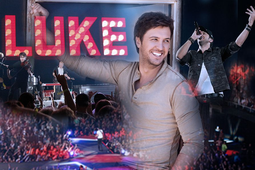 Photo collage of Luke Bryan on stage at the Coliseum in 2013