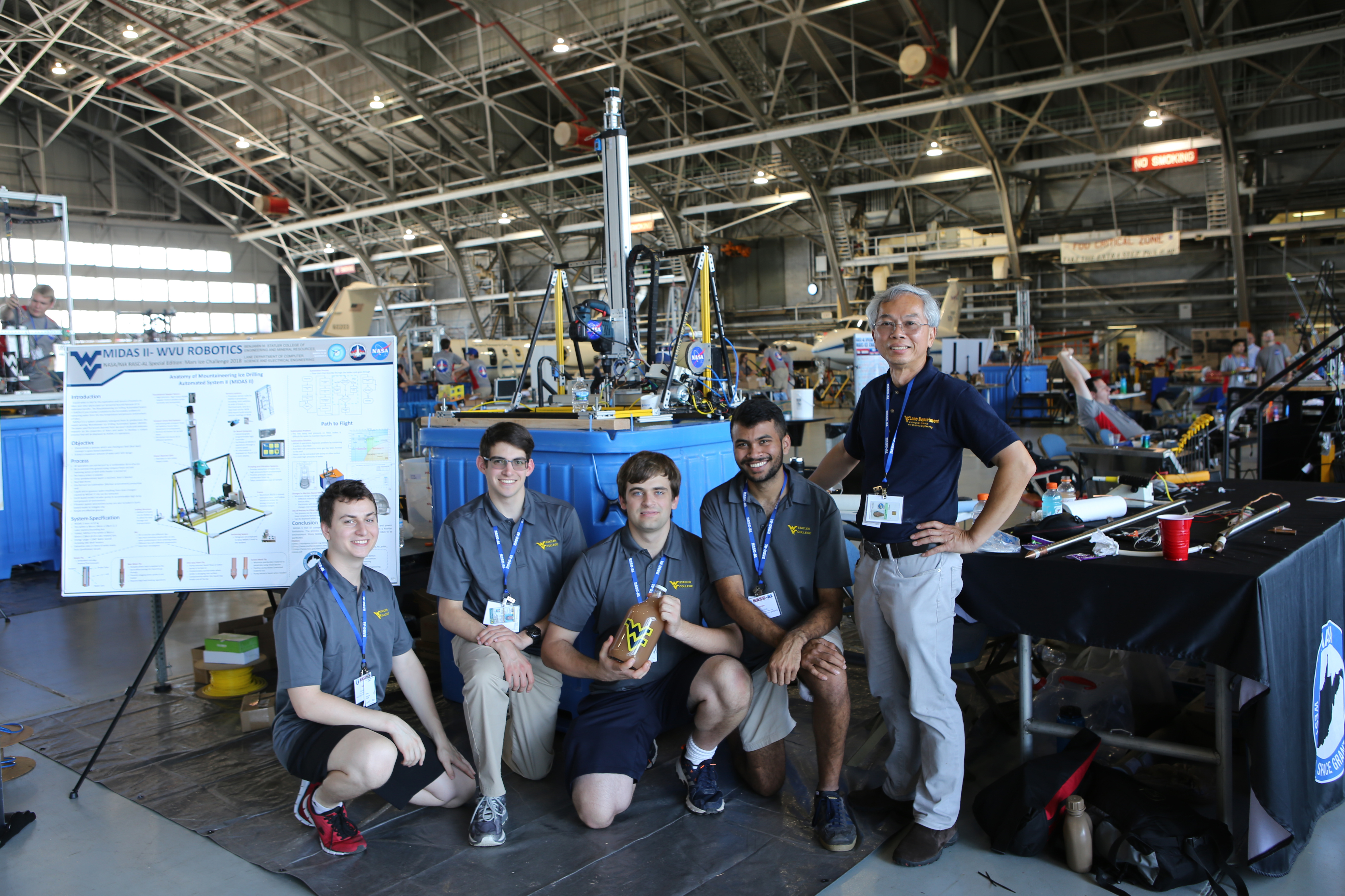 WVU engineering students with drill for Mars Ice Challenge