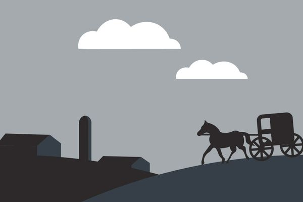 Graphic of a farm, horse and buggy