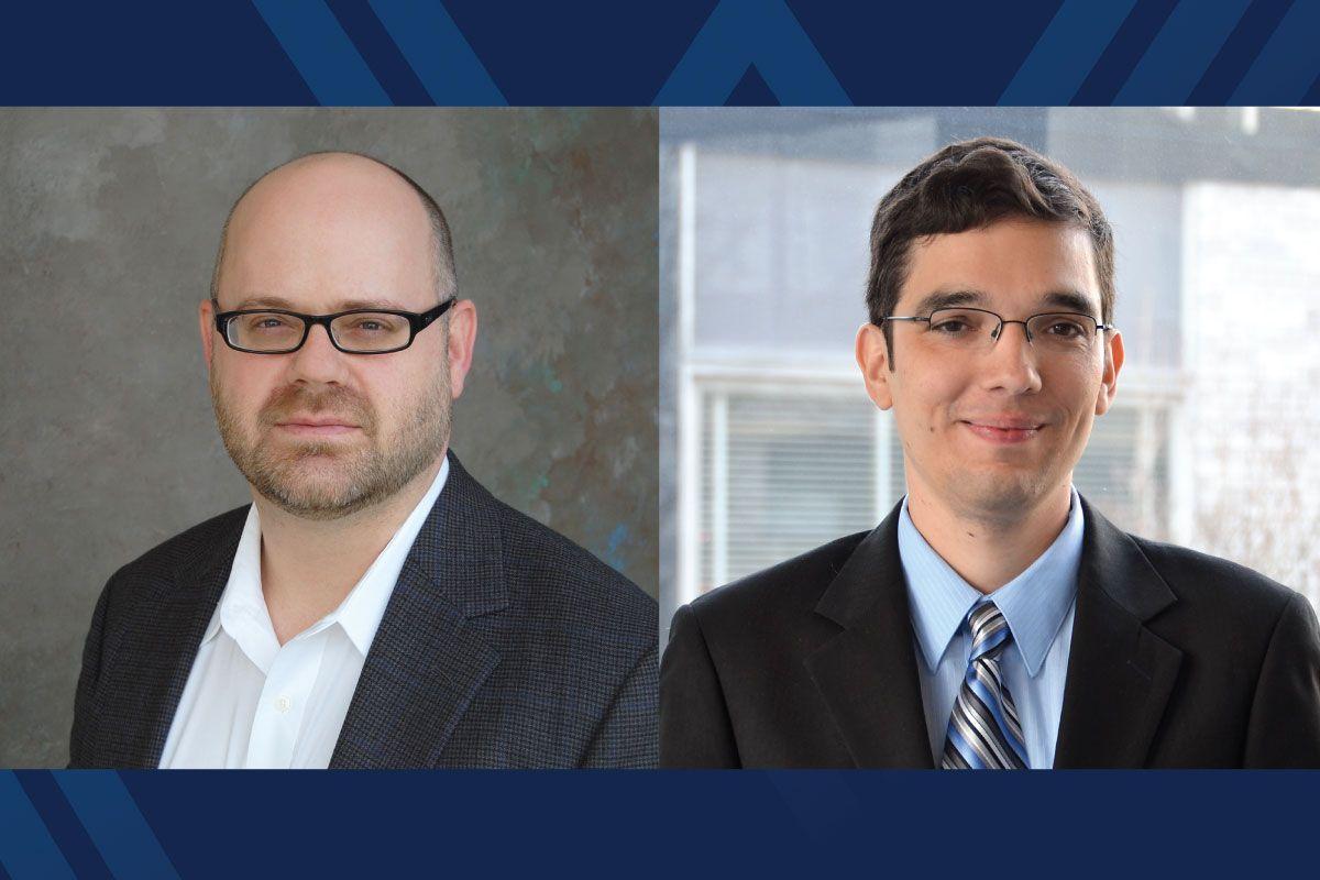Portraits of Ed Sabolsky and Fernando Lima on blue background