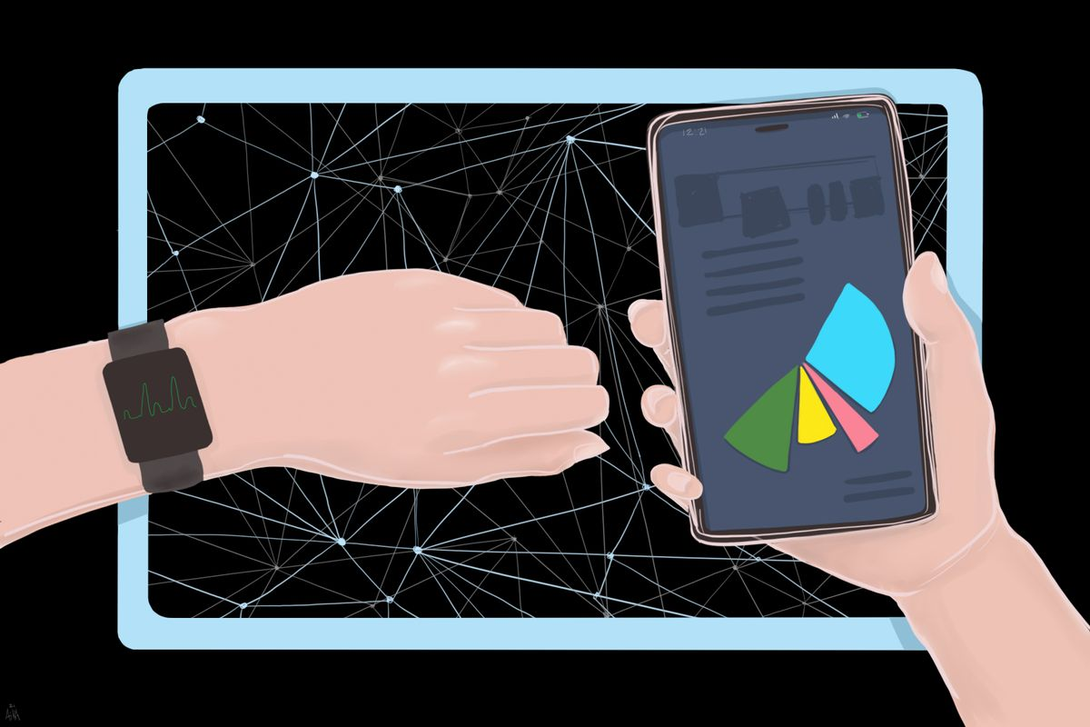 Graphic of a hands with a watch on the left wrist and a phone in the right hand in front of a screen.