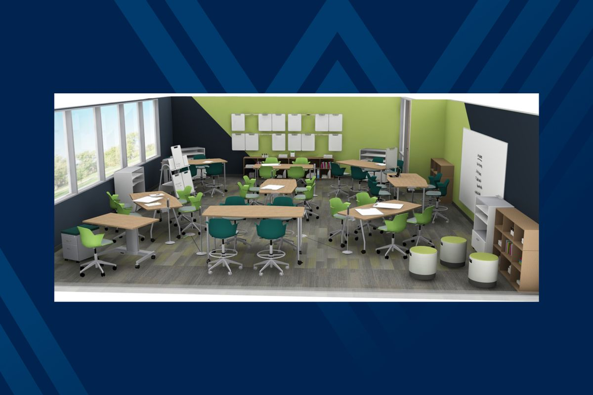photo of a classroom model with moveable desks and chairs and large windows, green and black walls painted on a diagonal