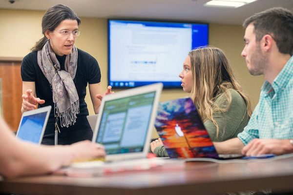 WVU faculty member instructs students