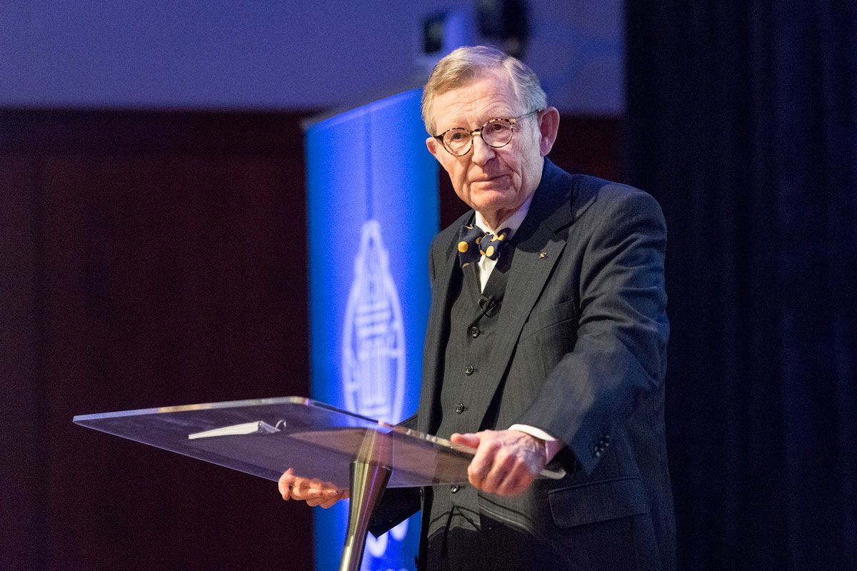 WVU President Gordon Gee pictured at the podium as he delivered his fall 2017 State of the University address.