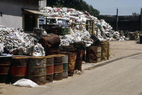 Photo of a scrap metal yard