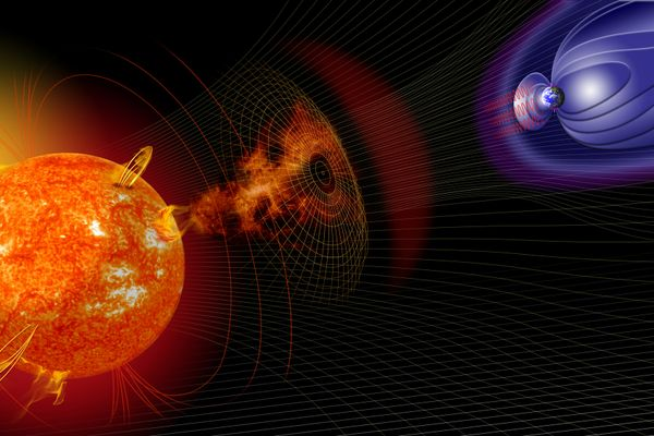 solar storm in relation to Earth