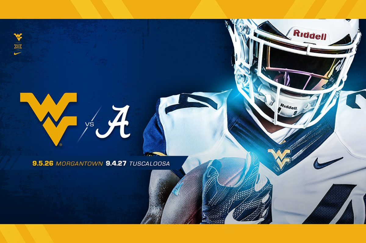 A WVU football player next to the flying WV logo and the Alabama A logo.