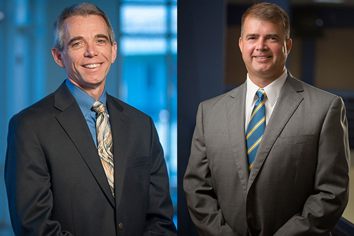 Side-by-side portraits of two gentlemen in suits smiling