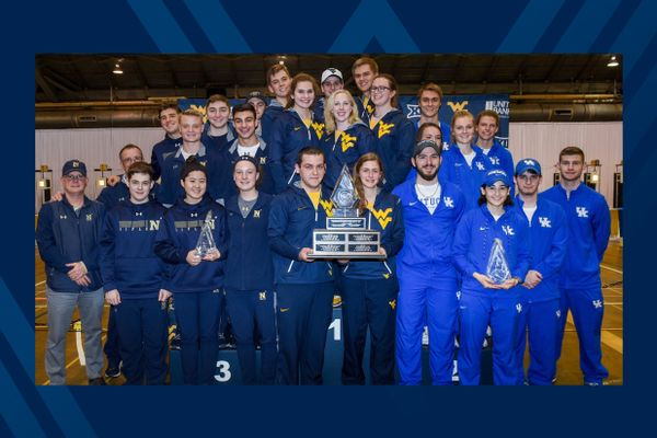 Members of the WVU rifle team posing with 2018 GARC Championship trophy