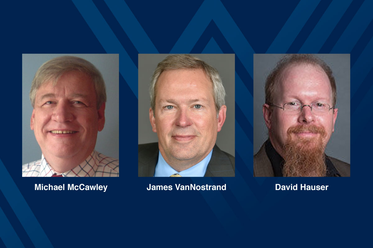 Composite photo of Michael McCawley, James VanNostrand, David Hauser on blue background