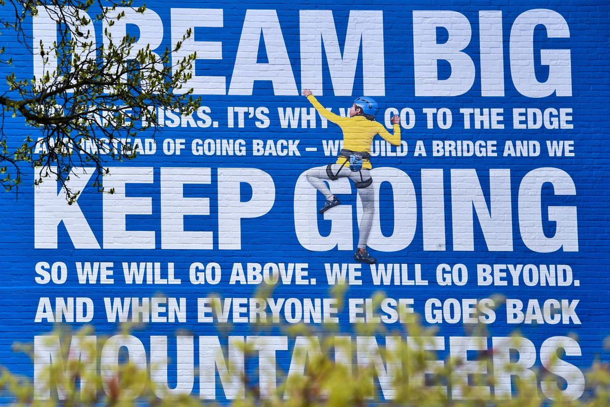 The portion of the Mountaineer Manifesto urges Mountaineers to Dream big and keep going. Photographed on the downtown campus on Tuesday, April 7, 2020 during the Coronavirus outbreak.