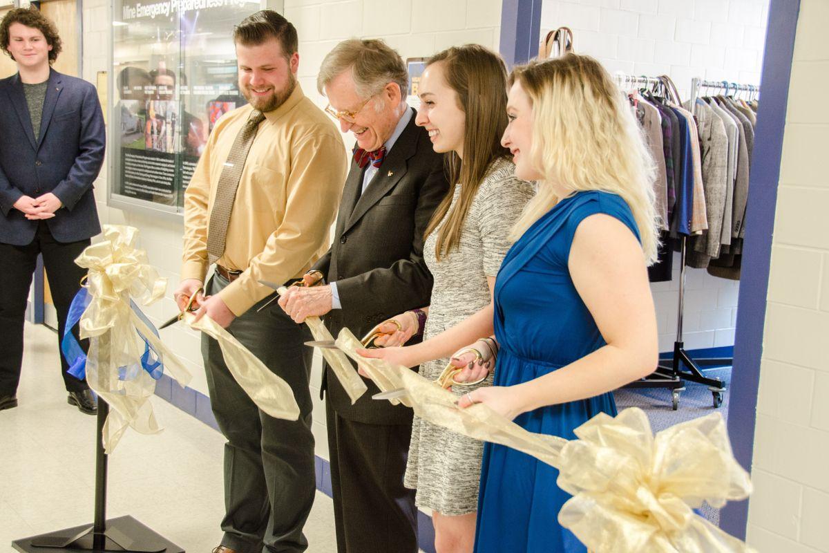 Ribbon cutting at Statler Career Closet