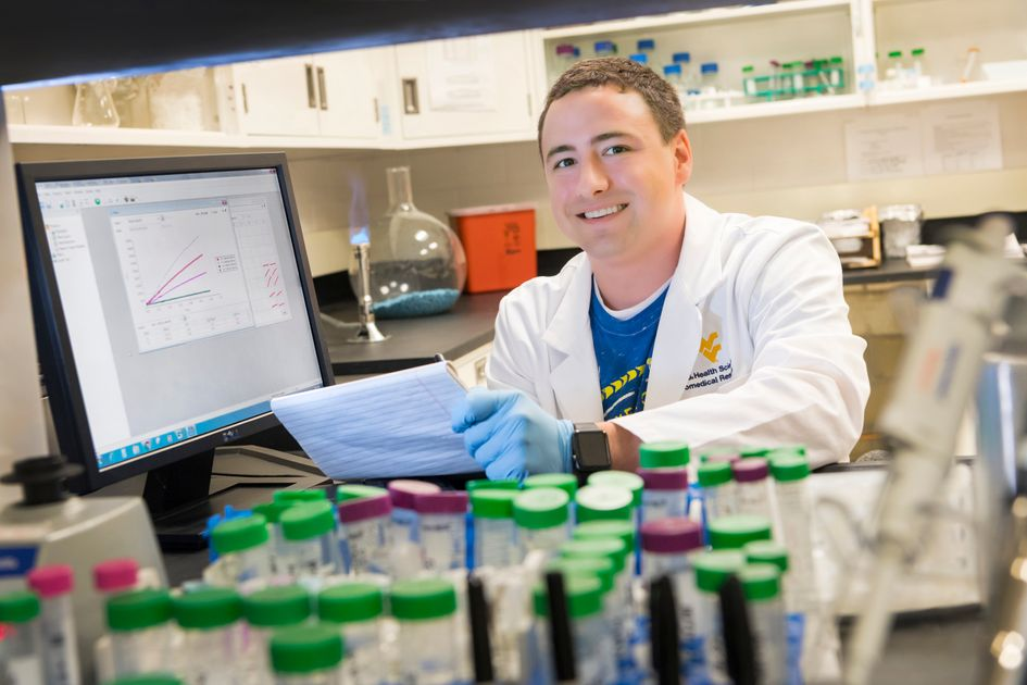 Raymond Anderson, a graduate student in the WVU School of Medicine in lab.