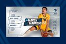 March Madness logo with WVU player holding basketball
