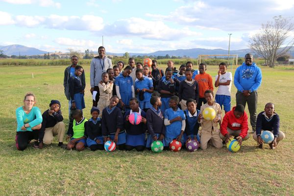 A group of South African students with Zenzi Huysmans