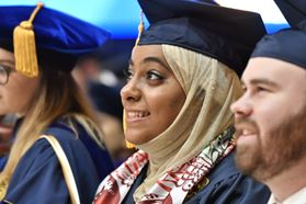 WVU graduates from the Eberly College of Arts and Science and the John Chambers College of Business and Economics convene with their families and faculty for the December 2018 Commencement.
