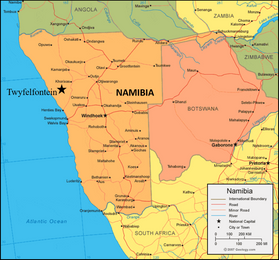 map of Namibia in orange