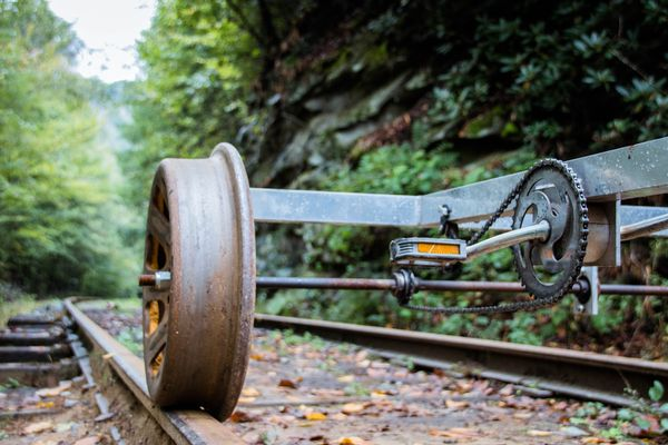 Photo of a wheel and pedal on a railroad track