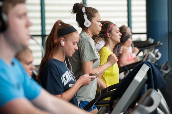 Students on treadmills