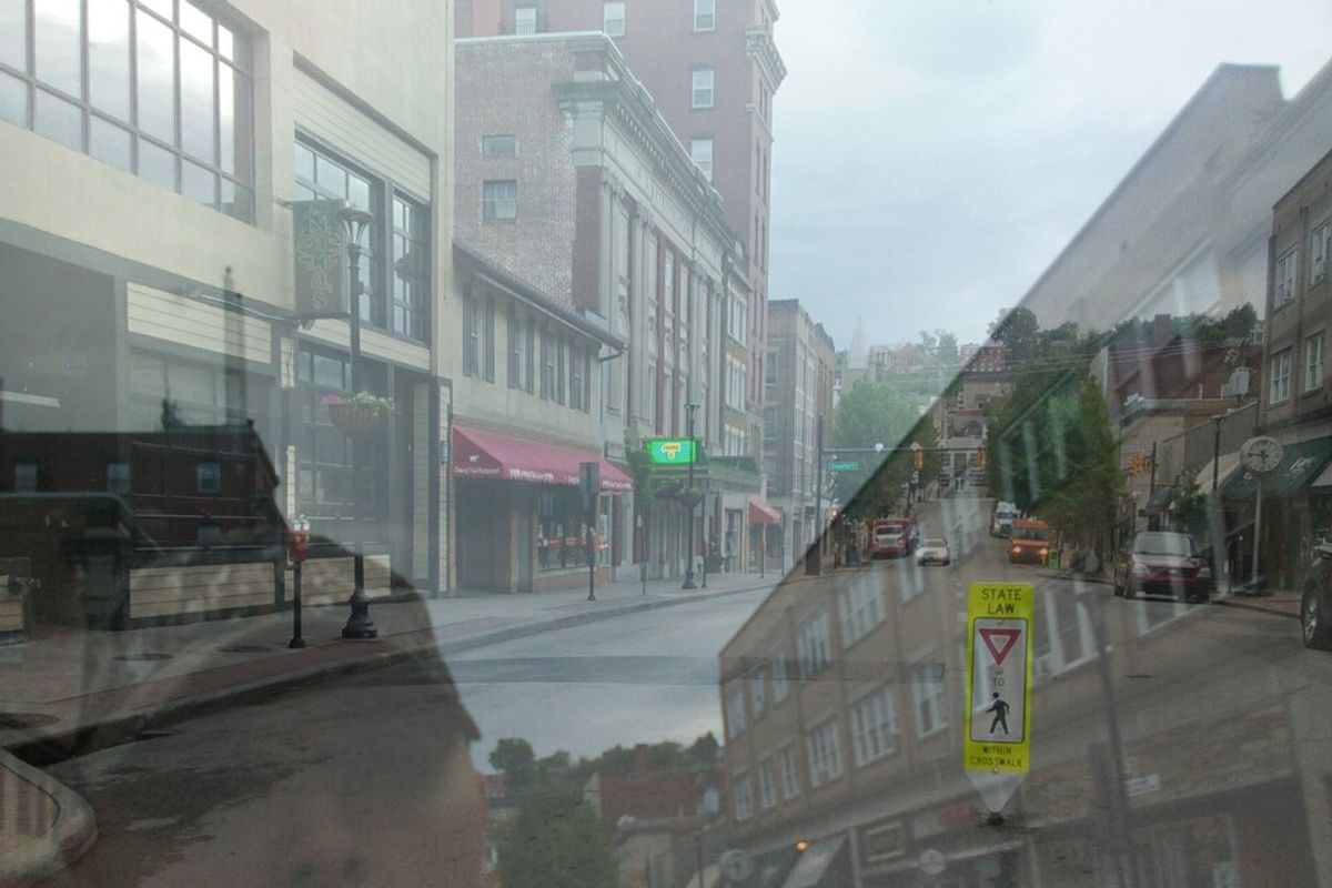 Morgantown photo, reflected in glass