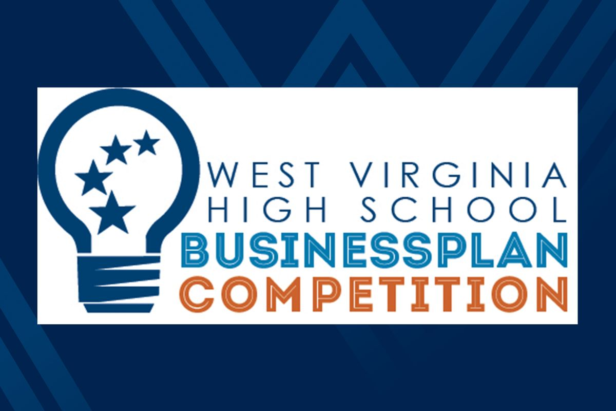 Graphic for the West Virginia High School Business Plan Competition on blue background