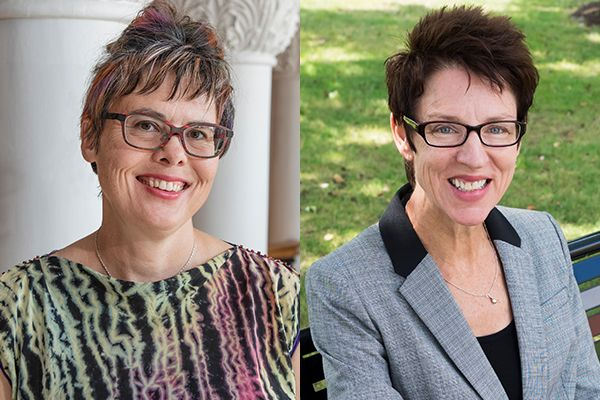 composite photo of two smiling women wearing glasses