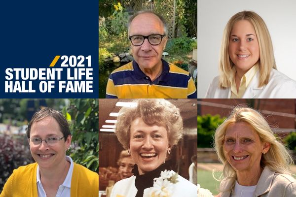 composite of five people, one man, four women 2021 WVU Student Life Hall of Fame