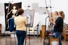 Creative Arts students drawing a skeleton.