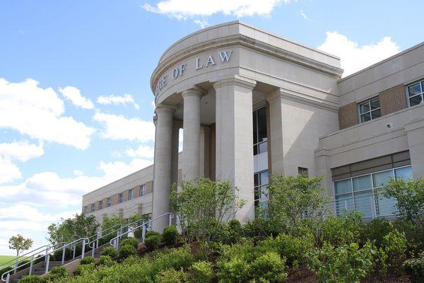 West Virginia University's College of Law facade.