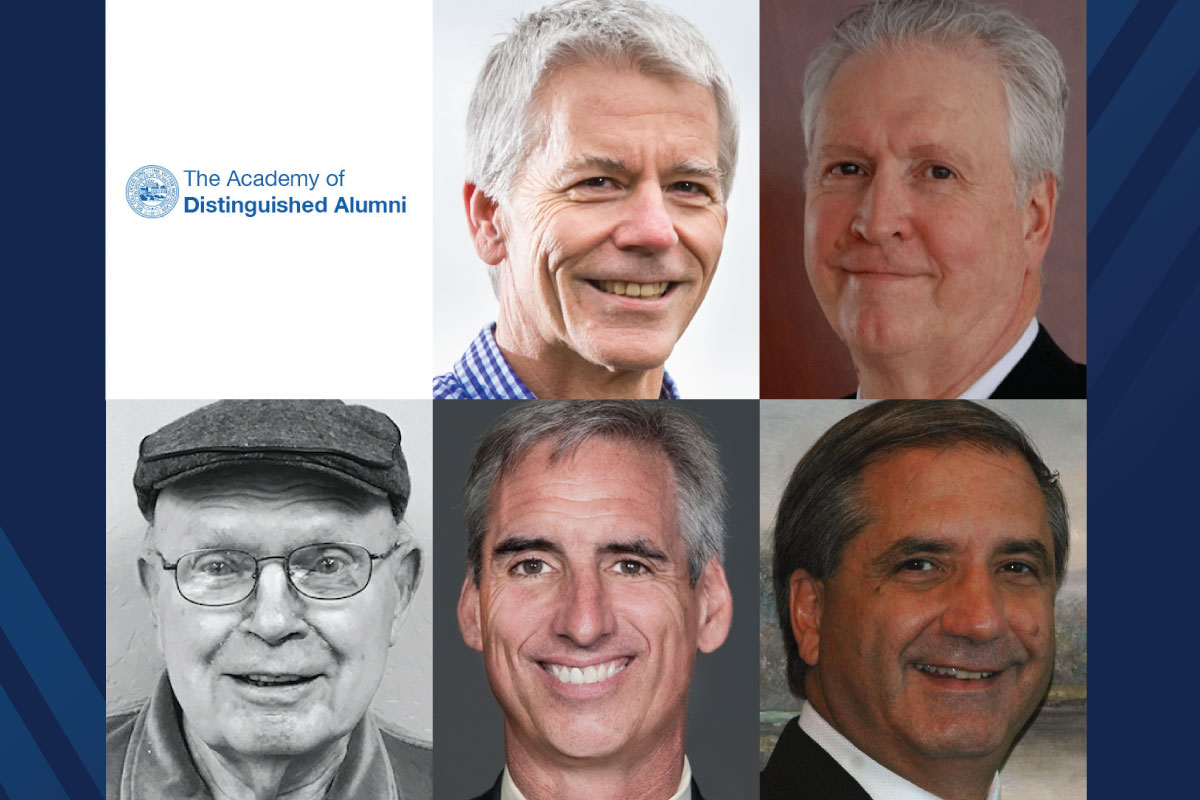 Composite photo of the 2018 Academy of Distinguished Alumni inductees: Keith Bowers, Michael Flowers, Albert Lewis, Oliver Luck, Alan Zuccari, along with the wordmark for the Academy.