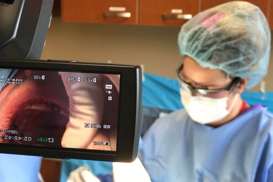 Periodontal surgery being recorded