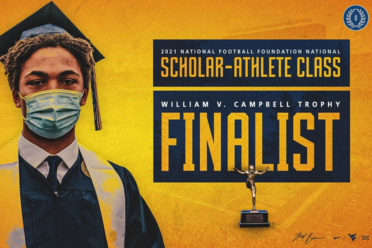 graphic of young an in graduation regalia, FINALIST in text block, gold background