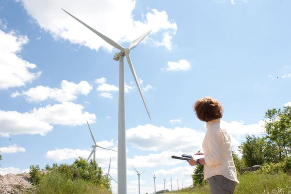 Woman taking notes on wind turbines