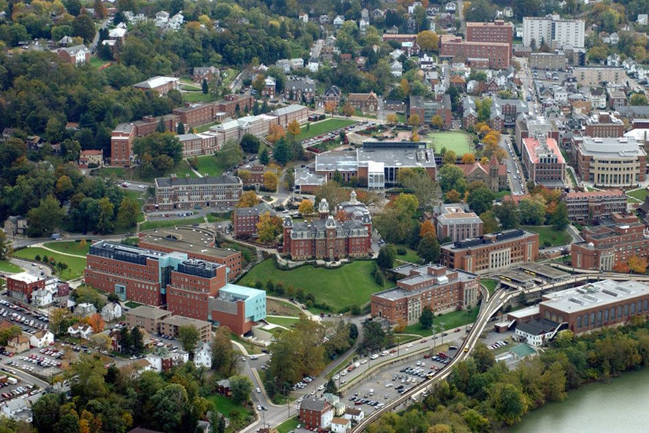 An aerial view of WVU's downtown campus