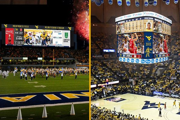 composite photo of lighted football, basketball scoreboards
