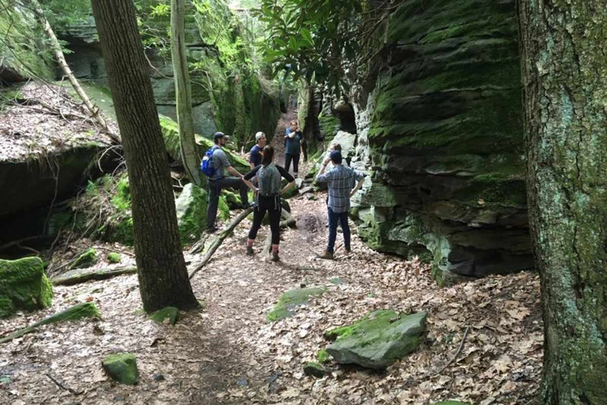 students gather to study Coopers Rock