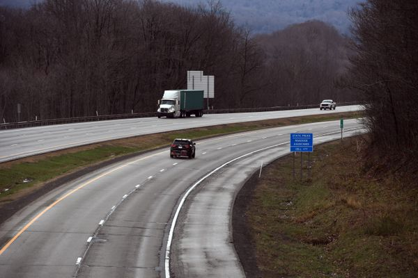 vehicles on a four-lane highway