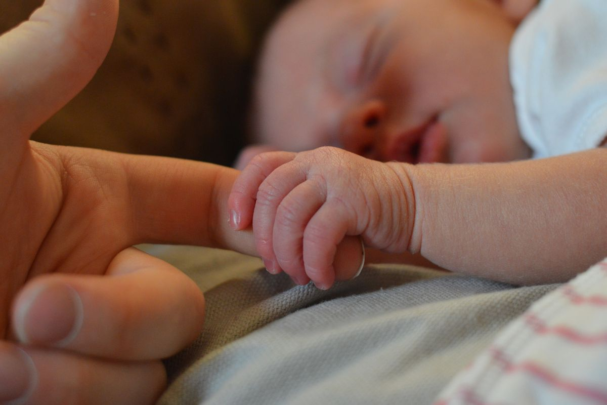 An infant's hand holds an adult's finger.