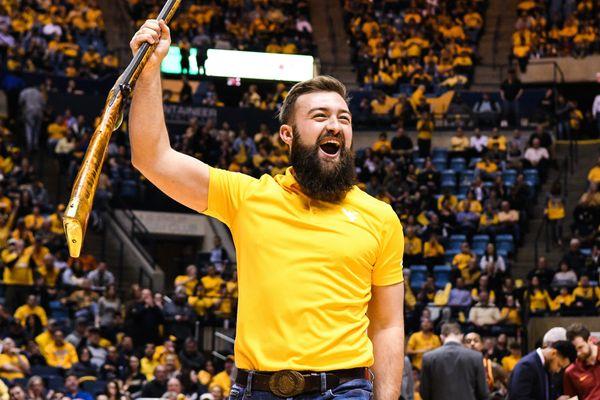 Trevor Kiess celebrates Saturday, Feb. 24, as he's named the 2018-19 Mountaineer Mascot