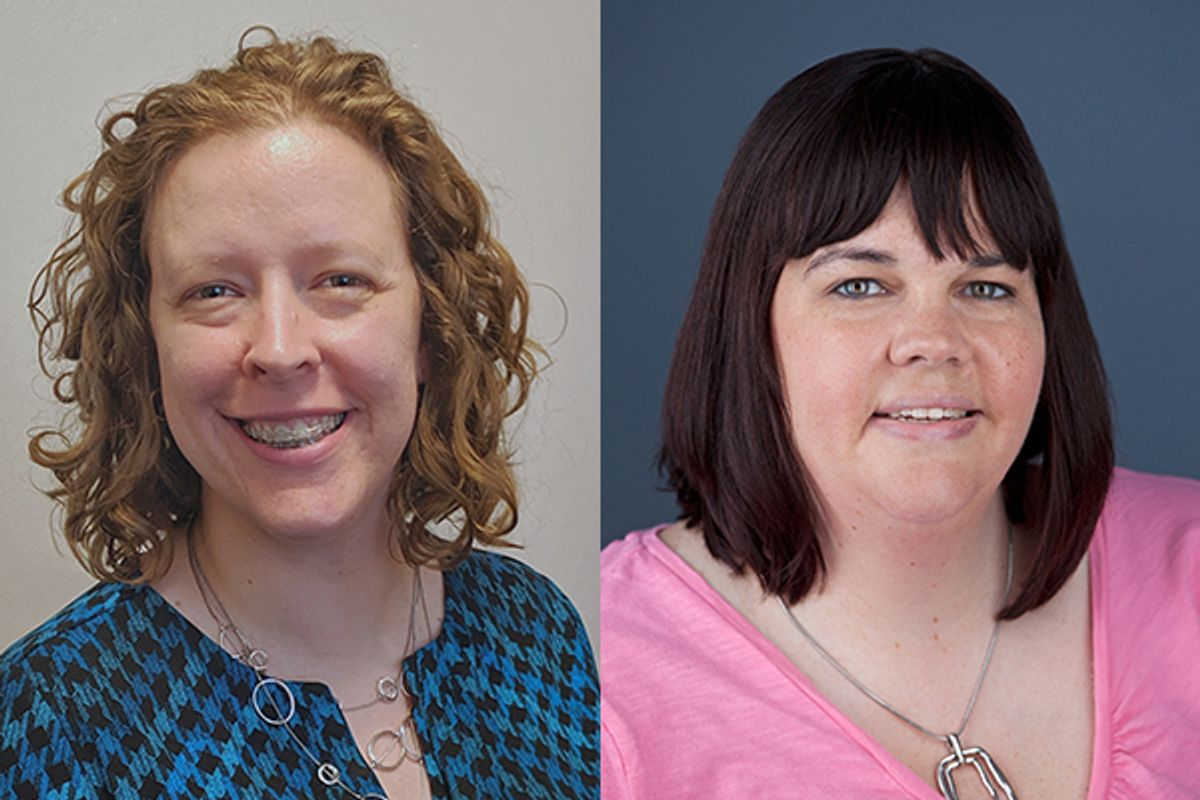 Side-by-side headshots of women: on the left is a red head in a blue and black shirt, on the right is a brunette with bangs in a pink shirt.