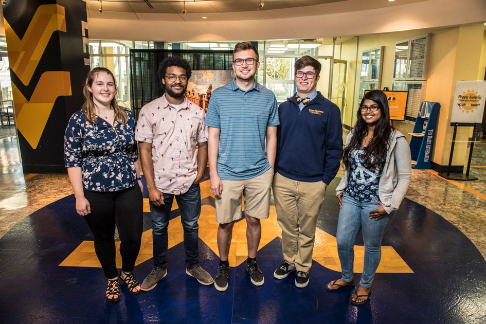 WVU students awarded 2018 NSF research fellowships. Pictured (left to right): Katrina Rupert, Mikal Dufor, Nicholas Strogen, William Howard, Samantha Isaac.