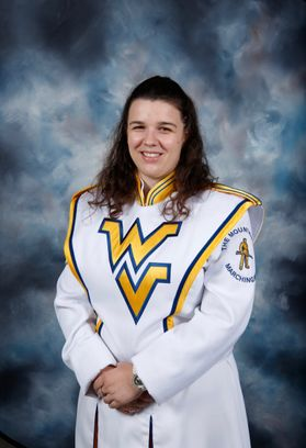 Professional photo of a girl with dark brown hair in a WV marching band uniform