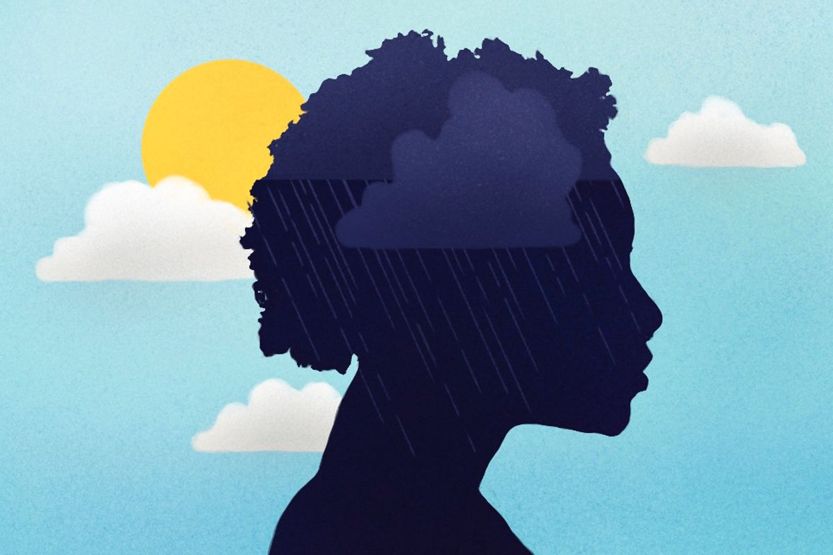 silhouette of person with short hair, rain cloud inside the head, sunshine peaking through clouds in the background
