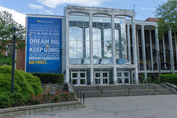 Mountainlair, with reflected blue sky and manifesto