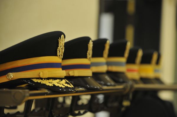 row of military hats