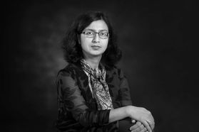 Black and white portrait of Nilanjana Dwibedi