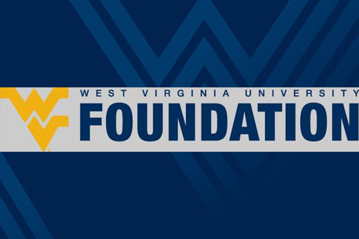 logo for WVU Foundation on blue background