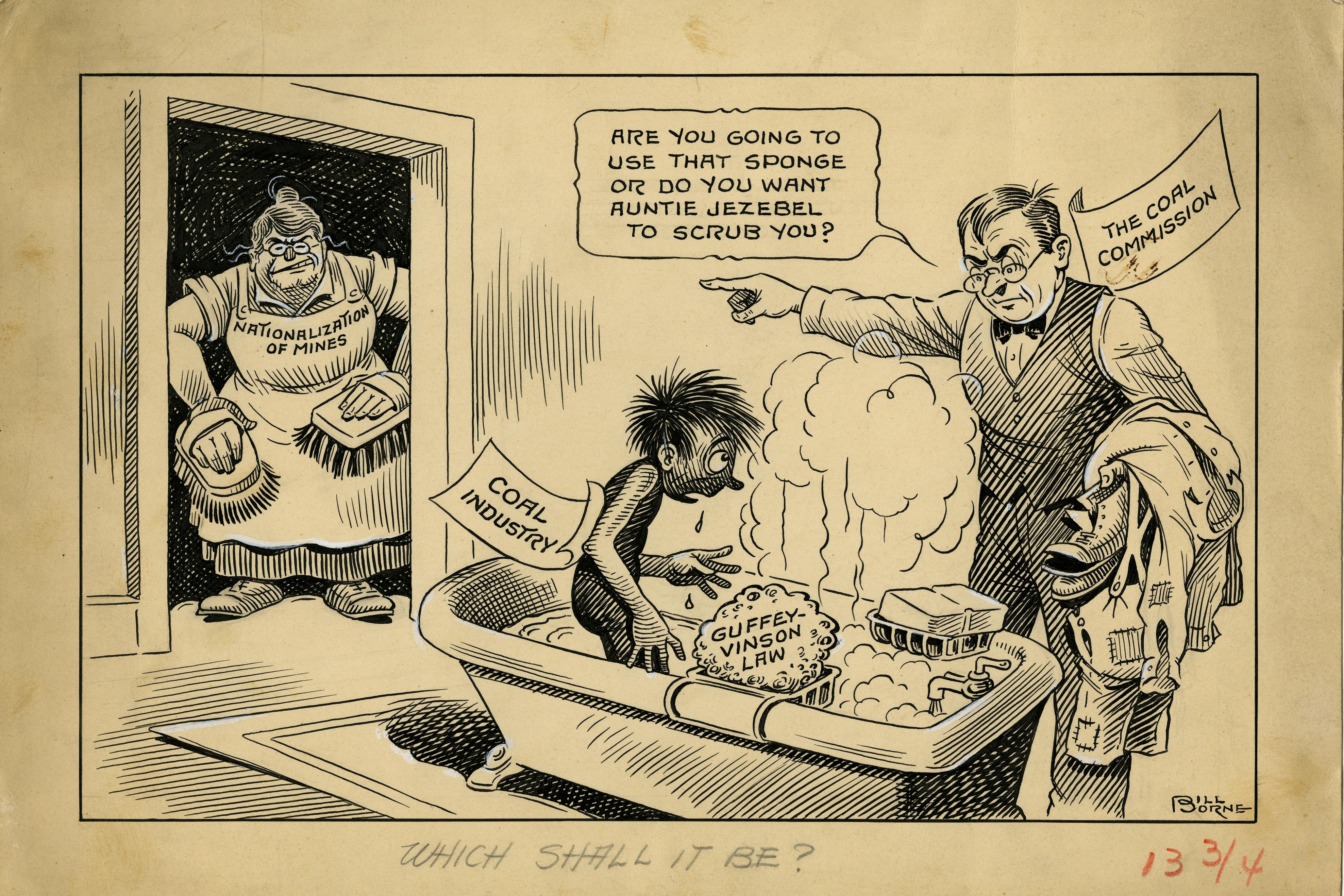 Old cartoon depicting coal companies getting a bath