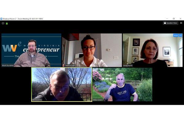 Five people meeting virtually